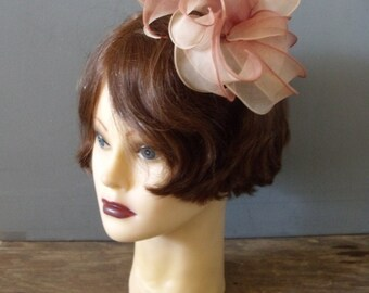 Vintage 50's Party Organza Hair Comb ~ Petal Flower Hair Accessorie