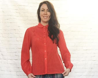 Vintage 70s Embroidered Flower Cut-Outs Red Blouse Top S M Long Sleeve