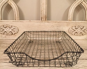 Vintage Wire Industrial Storage Basket - In Box, Out Box Tray - Desk Organization for Paperwork