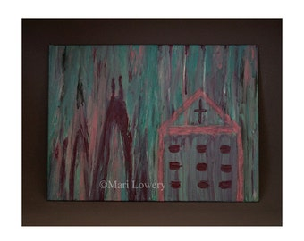 Abstract Art, Original Painting, Pink and Aqua, Burgundy and Pink, Canvas Painting, One of a Kind Art, Cross Art