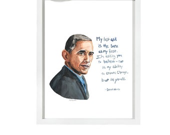 Barack Obama Portrait, inspiring Quote, Obama's farewell, Create change