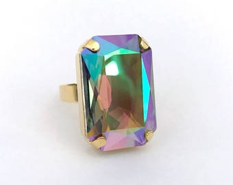 Northern Lights Ring // Aurora Borealis Large Swarovski Crystal Rectangle Ring // PARADISE SHINE Statement Cocktail Ring