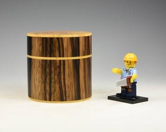 Black and white ebony with spalted boxwood, wooden box, woodturning, gift, wood