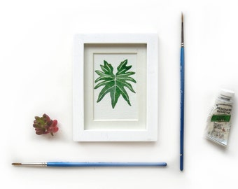 Philodendron Plant Leaf Framed Original Watercolor Illustration | Mini Framed Painting Houseplant