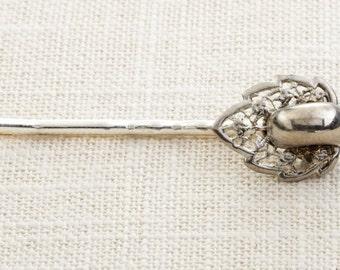 Silver Leaf Filigree Hair Clip Embellished Bobby Pin   Handmade in USA Hair Pins 16V