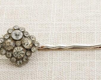 Silver Rhinestone Square Hair Clip Embellished Bobby Pin   Handmade in USA Hair Pins 16V A