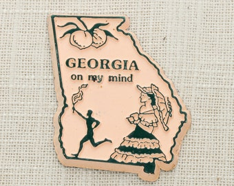 Georgia Vintage State Magnet Atlanta Peach Travel Tourism Summer Vacation Memento Silhouette USA America Olympics Fridge On My Mind 5S