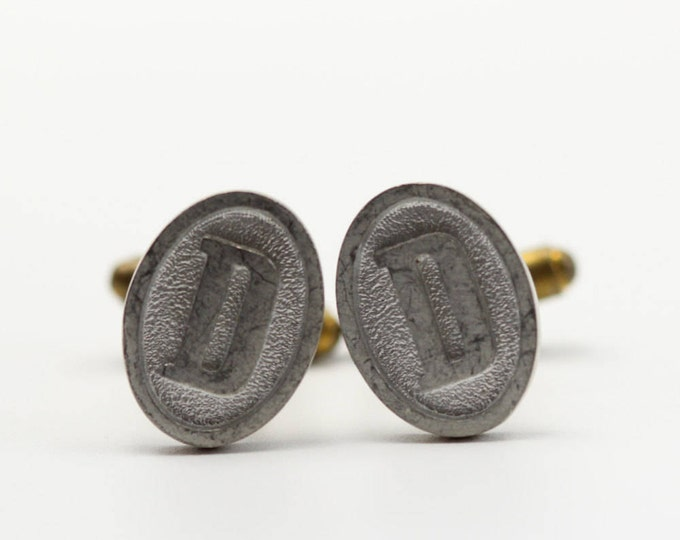 "D Cuff Links Vintage Cufflinks Letter ""D"" Initial Monogram 