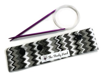 """Small Black, Gray and White Zig Zag DPN Circular Project Holder for needles up to 7-1/2"""" long S234"""