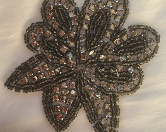 Floral Sew-On Applique Sequin  - Vintage - Silver Tone Embellishment