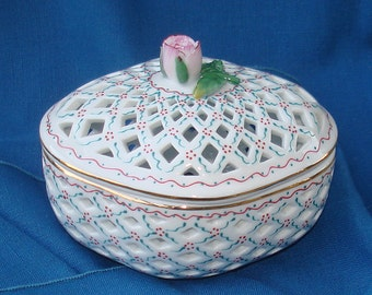 Lattice Ceramic Box & Lid with Rose Topper Vintage Candy Dish Dresser Box Jewelry Box Catch-All Box