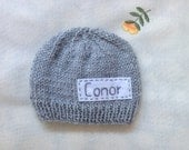 Newborn photo prop, grey newborn hat, personalized newborn hat with name, newborn boy, monogram baby hat, , name beanie, newborn knit hats
