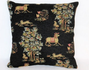 """Horse Tapestry Pillow, Black Chenille Brocade, 17"""" Sq, Medieval Fairy Tale Motifs, Pony Trees Bunny Goat, Ready Ship"""