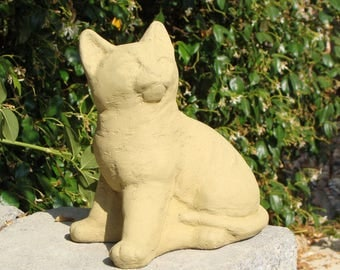 SITTING KITTEN Solid Stone Cat Garden Statue - FREE Shipping - Cement Concrete Outdoor Yard Art Lawn Decor Animal Sculpture Artwork Accent