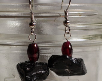 Tektite and Garnet Earrings