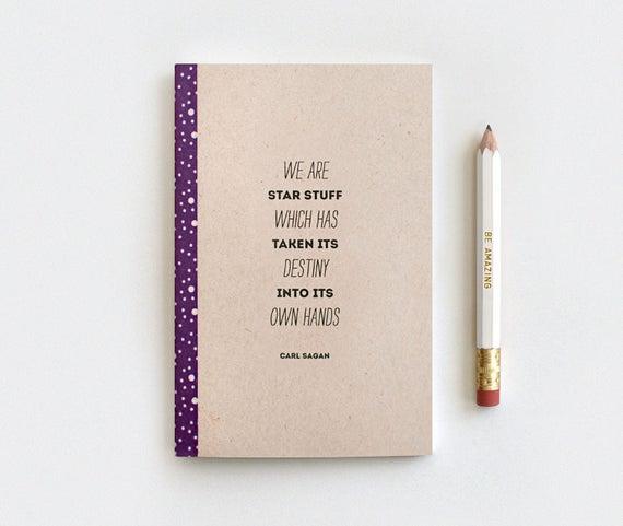 Notebook Star Constellation Journal, Brown Recycled Notebook & Pencil Set, Stocking Stuffer - Carl Sagan Galaxy Journal, Cosmos Astronomy