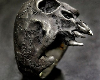 Cyclops Ring,Silver Cyclops Ring,Cyclops Skull Ring,.925