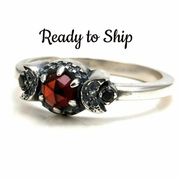 Ready to Ship - Blood Moon Garnet Ring with Crescent Moons and Black Diamonds - Moon Phase Engagement Ring - Gothic Gift