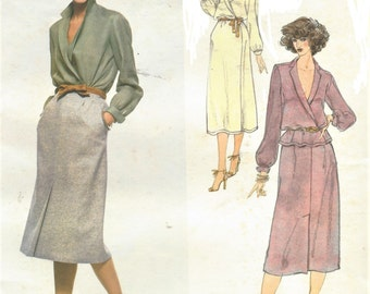 1970s Calvin Klein Womens Front Wrapped Dress or Top & Skirt Vogue Sewing Pattern 1972 Size 14 Bust 36 UnCut Vogue American Designer