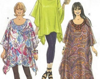 Womens Boho Top, Tunic or Caftan Shaped Hems OOP McCalls Sewing Pattern M6125 Size 18 20 22 24 Bust 40 42 44 46 UnCut