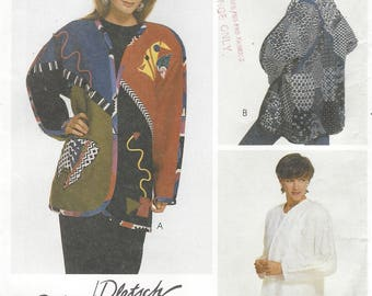 1990s Womens Creative Jacket Patchwork and Applique Kimono Sleeves McCalls Sewing Pattern 7517 Size 12 14 Bust 34 36 UnCut Sewing Patterns