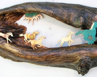 """Wild Horses and Sunburst in Hollow Log 16.5"""" x 10"""" x 3"""" Rustic Wall Hanging"""