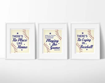 Baseball Nursery, No crying in baseball, boy nursery wall art, no place like home, Babe Ruth Quote, baby boy gift, sports nursery decor