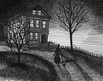 Lizzie Borden House - Original Pen and Ink Haunted House Drawing by Amanda Lanford OOAK