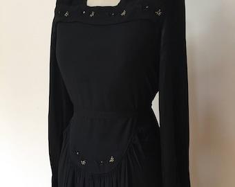 Vintage 40s Black Crepe Dress L