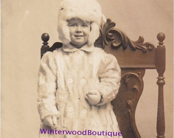 "RPPC early 1900s Little Girl ""Viola"" dressed in Fur- Post Card"