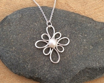 Sterling Silver and Pearl Pendant, Argentium Silver Necklace