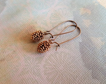 Pine Cone Earrings - Delicate Antique Rose Gold Plated 3D Pine Cone on Antique Copper Earwires - Gift for Her
