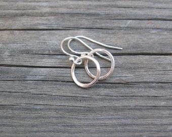 Tiny Circles Earrings in Sterling Silver - Hammered Sterling Silver Circles Earrings - Handmade Artisan Metalwork Earrings