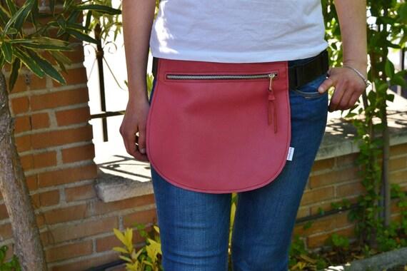 Leather waist bag,Belt bag,hip leather bag,fanny pack leather,pink bag,hip belt bag,rider bag,leather fanny,zipper waist,pink purse bag