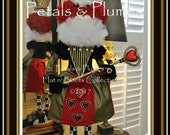 """Pre-Order 2018-""""QUEEN of Hearts"""" Valentine-Mardi Gras-Christmas Character Stand Centerpiece-Petals & Plumes Original Design- 39"""" Tall"""