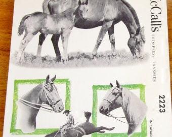 "Vintage 1950s Transfers McCall's 2223 Foto-Press Hot Iron Horse Applique Motifs Made of Photographs, Size 4""-8"" Trim Linens, Crafts Uncut"