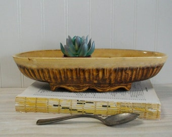 Vintage Brown and Gold Drip Glazed Pottery Oblong Dish / Vintage Mid Century Pottery