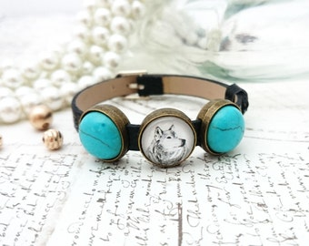 Wolf Bracelet - Wolf Pendant, Animal Art Bracelet, Turquoise Bracelet, Belt Bracelet