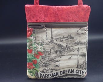 Paris Cross Body Bag, Small Purse, Eiffel Tower Bag, Passport Case, Vive La France, Runaround Bag, Gifts for Her, Gifts for Travelers