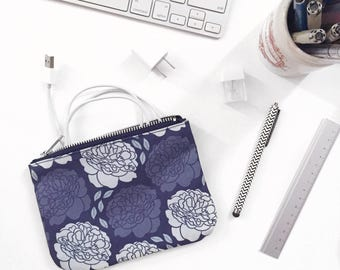 Small Zipper Pouch, Blue Floral Pattern, Damask Romantic Peony Print, Original Fabric Design, Unique Feminine Design, Cute Tampon Bag,