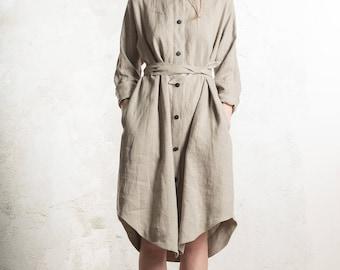 Linen dress, Casual dress, Loose fit linen dress with pockets, Boyfriends shirtdress, Long sleeve linen shirtdress, Linen women's clothes