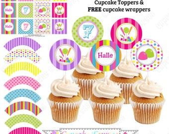 Candy Shoppe Cupcake Topper Birthday Party  PRINTABLE  pink green blue yellow orange  candyland DIY -Cupcake Express