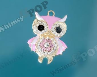 1 - 3D Large Gold Tone Pink Owl on Branch Rhinestone Charm, Owl Charm, Owl Pendant, 49mm x 38mm (R8-224)
