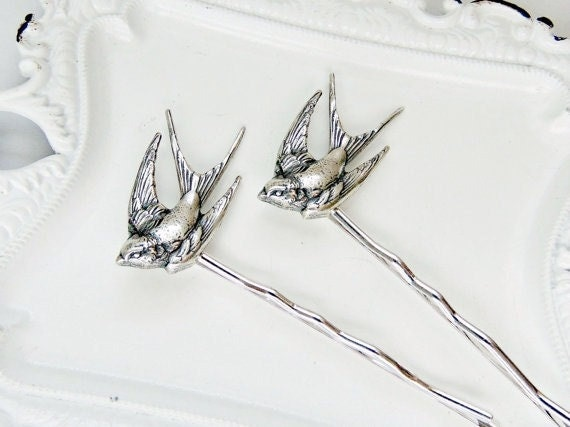 Sparrow Hair Pins, Bird Hair Pins, Sparrow Bobby Pins, Sterling Silver Hair Pins, Silver Hair Pin, Nature Hair Pins Bridal Hair SPARROW