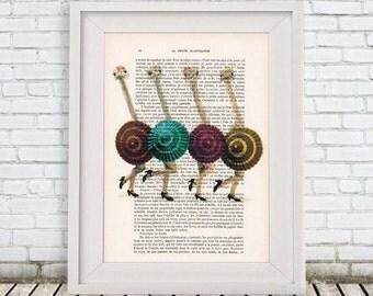 Ostrich Print, Ostriches dancing, Vogue Print, Fashion Artwork, Topmodel Prints, Gift for Her, Wall Art Prints, Elle