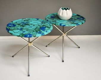 Pair of Mid-Century Floral Tables - Metal Folding Tables