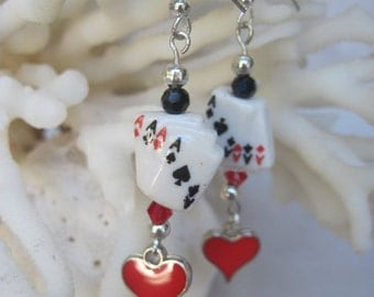 Four Aces and Red Heart Charm with Ace of Spade on Top Earrings