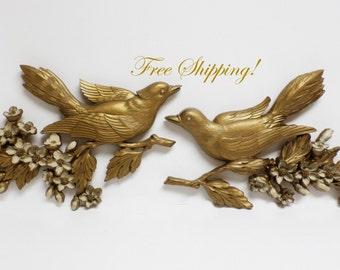 Bird Plaques Set of 2 Birds & Floral from Dart Industries 7037 and 7038 Gold Dogwood Vintage Syroco HOMCO FREE SHIPPING!