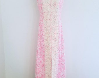 1960s The Lilly Pulitzer Maxi Dress Pink Flowers Cream Lace Sleeveless Shift Summer Womens Vintage Medium Large