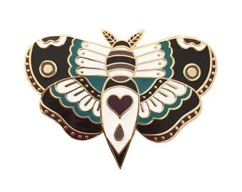 Gold Traditional Tattoo Style Moth Enamel Pin